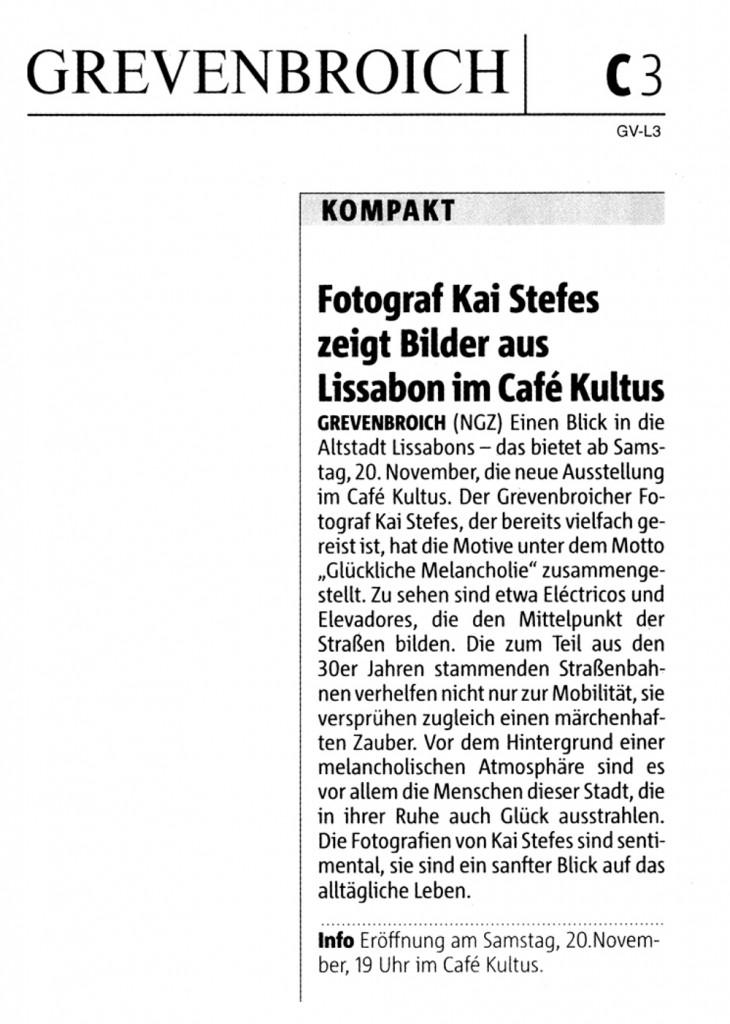 """Vorankündigung der Ausstellung """"Lissabon - Glückliche Melancholie"""" in der Neuss-Grevenbroicher Zeitung vom 18.11.2010"""
