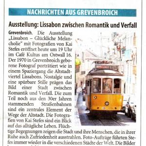 """Vorankündigung der Ausstellung """"Lissabon - Glückliche Melancholie"""" in der Westdeutschen Zeitung vom 20.11.2010"""