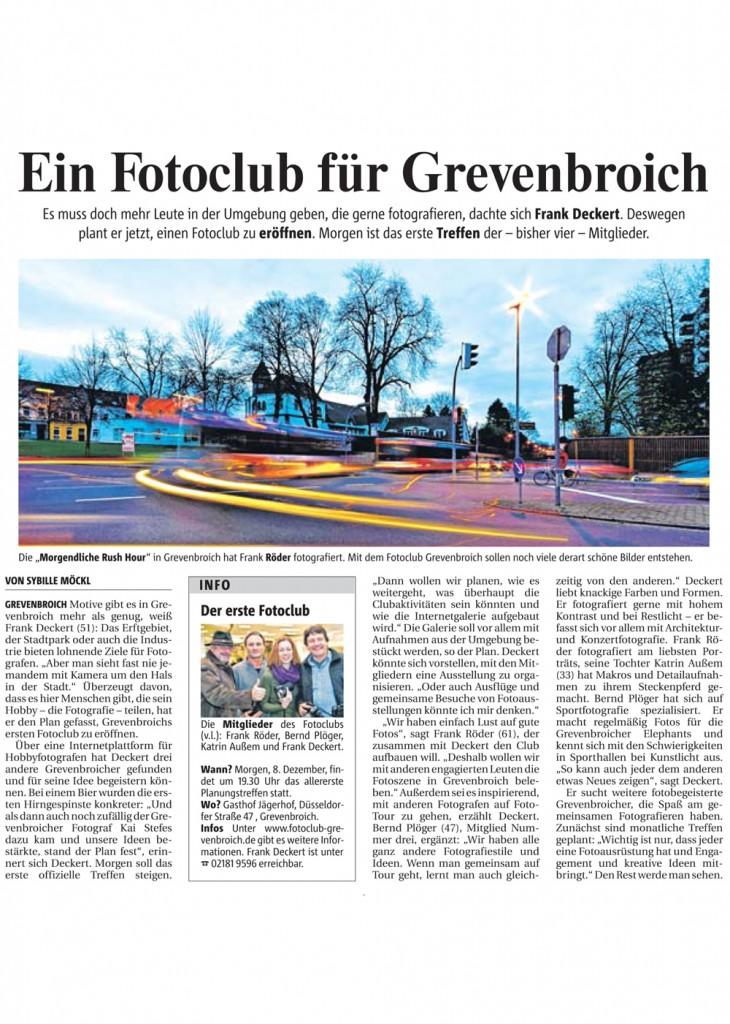 Bericht über den Fotoclub-Grevenbroich in der Neuss-Grevenbroicher Zeitung vom 07.12.2010