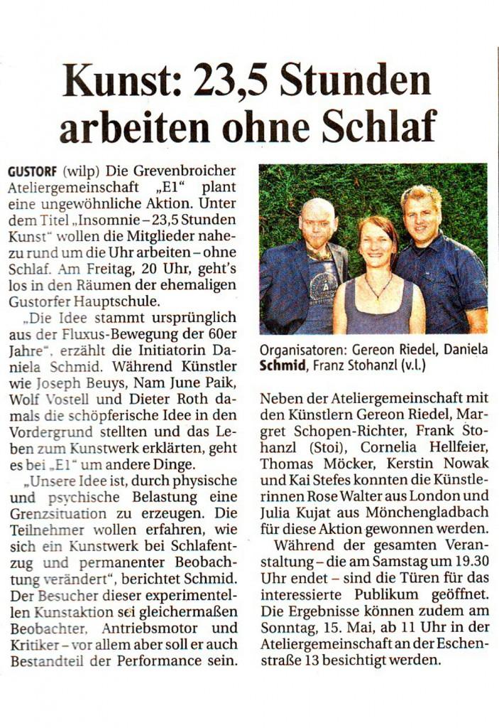 """Vorbericht über die E1-Aktion """"Insomnie-23,5 Stunden Kunst"""" in der Neuss-Grevenbroicher Zeitung vom 11.05.2011"""