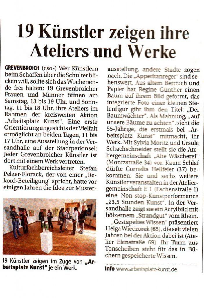 Bericht über die Gemeinschaftsausstellung in der Versandhalle in der Neuss-Grevenbroicher Zeitung vom 12.05.2011