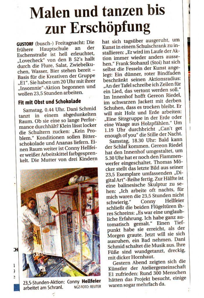 """Bericht über die E1-Aktion """"Insomnie-23,5 Stunden Kunst"""" in der Neuss-Grevenbroicher Zeitung vom 16.05.2011"""