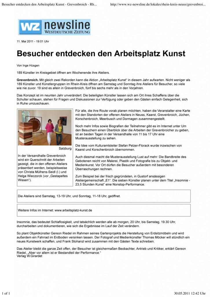 """Bericht über den """"Arbeitsplatz Kunst 2011"""" in derWestdeutschen Zeitung vom 30.05.2011"""