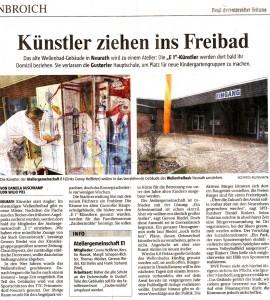 Bericht über den Umzug der Ateliergemeinschaft E1 ins alte Wellenfreibad Grevenbroich Neurath in der Neuss-Grevenbroicher Zeitung vom 21.04.2012
