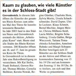 Bericht über die Kunstszene in Grevenbroich im Erftkurier vom 13.06.2012