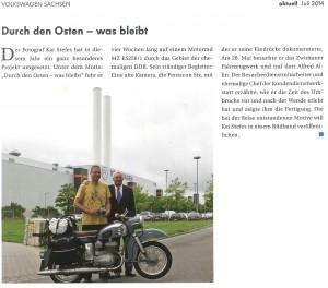 Artikel in der Mitarbeiterzeitung Volkswagen aktuell im Juli 2014